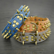 Wide Spiked Studded Leather Dog Collar for Large Breeds Boxer Rottweiler Mastiff