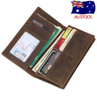 RFID Vintage Men's Leather Long Clutch Wallet Bifold Silm Purse ID Card Holder