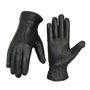 Mens Leather Warm Soft Driving Fleece lined winter Leather Gloves