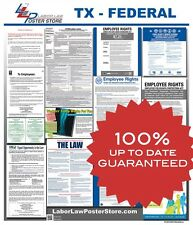 2018 Texas TX State & Federal all in one LABOR LAW POSTER workplace compliance