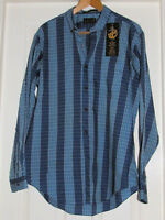 MEN'S VTG XL LEVI'S BLUE CHECK AND STRIPED FITTED SHIRT WITH BUTTON-DOWN COLLAR