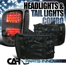 07-13 GMC Sierra Clear Smoke Replacement Headlights+Tinted LED Tail Lamp