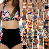 High Waisted Women Bikini Set Padded Push Up Swimwear Beachwear Bathing Swimsuit