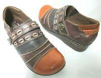 Spring Step L'Artiste patchwork Leather clogs comfort brown Size Sz 42 10