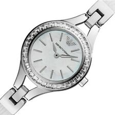 NEW EMPORIO ARMANI LADIES AR7353 SILVER WHITE WATCH, COA - 2Y WARRANTY,