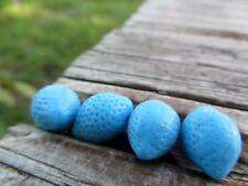 (6) Rare VTG Glass Blue lemon Berry Fruit Beads German Bohemian Czech Jewelry