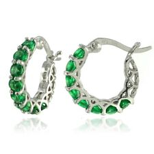Sterling Silver Simulated Emerald Small Round Huggie Hoop Earrings