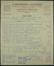 FACTURE ANCIENNE CARROSSERIE D'ASNIERES GAUGAIN & MONCAUP 1963 - PEUGEOT 404
