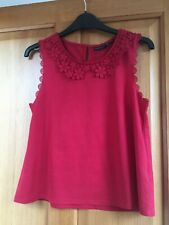 Size 10 petite red Topshop sleeveless shirt-style collared top