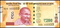 INDIA NEW Rs.200/- BANKNOTE SOLID NO. 5 DS 333333,GEM UNC