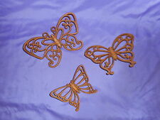 3 VINTAGE HOMCO HOME INTERIOR BROWN RATTAN BUTTERFLY #7537 BUTTERFLIES