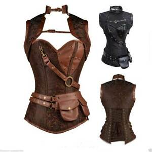 Steampunk Boned Corset Faux Leather Gothic Retro Warrior Jacket Costume Cincher