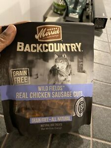 Merrick Backcountry Dog Treats Wild Fields Real Chicken Sausage Cuts 5 OZ BAGS