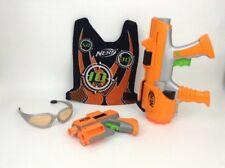 LOT Hasbro Nerf Dart Tag Orange Team Blasters w/ Vest & Safety Glasses