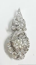Heavy 5.7g Approx 2ctw 14K White Gold Long Antique Natural Diamond Pendant
