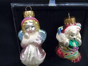 Unique Treasures Blown Glass Ornaments Vintage Angel, Stocking NIB