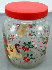 Clear 2 Qt Glass Christmas Cookie Jar with Plastic Screw Lid Teddy Bears & Holly
