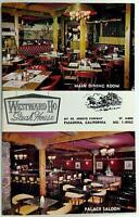 1970's Menu Mailer WESTWARD HO STEAK HOUSE Restaurant Pasadena California