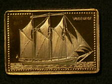 🍁 Venturer of Bermuda Tall Ship Gold Plated Stamp Silver 99.9% #4611