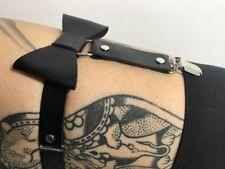 1 Porte jarretelle à l'unité forme noeud bowknot simili noir cuir clip métal