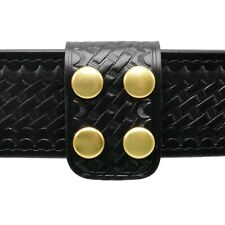 Perfect Fit Double Wide Police Belt Keeper Basketweave Leather Brass Snaps Usa