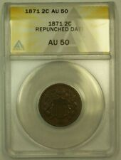 1871 Two Cent Piece 2c ANACS AU-50 (Repunched Date *FS-301*) (RS)