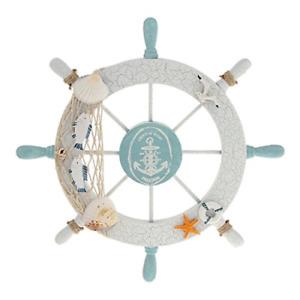 Rienar Nautical Beach Wooden Boat Ship Steering Wheel Fishing Net Shell Home -