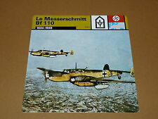 MESSERSCHMITT Bf 110 1934-1945 LUFTWAFFE AVIATION FICHE WW2 39-45
