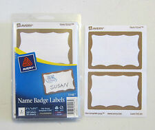 25 AVERY DENNISON GOLD BORDER BADGES NAME TAGS ID LABELS ADHESIVE PEEL LABEL