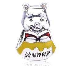 925 Sterling Silver Winnie The Pooh Charm Enamel Bear Bead For European Bracelet