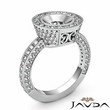 Round Semi Mount 14k White Gold 1.5Ct Diamond Engagement Bezel Halo Pave Ring