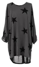 Ladies Lagenlook Fine Knitted OVERSIZED Plus STAR Print Batwing Tunic Top 14-22