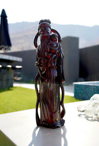 ANTIQUE CHINESE REPUBLIC CARVED CHERRY AMBER BAKELITE  LU XING ART STATUE 1282g