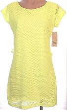 New Italia Moda Flourescent Yellow lined mesh knit short sleeve tunic dress