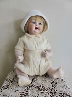 Large Antique Reproduction 1900s German Bisque Toddler Doll by S.L. Giles