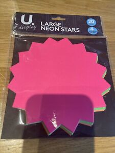 20 x Neon Fluorescent Stars Flash Price Display Tags Fluorescent Labels 160mm