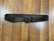 Fossill Leather Belt Studded Size M Medium Brown Metal Studs