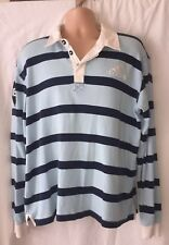 Adidas Striped 16th Man Long Sleeve Rugby Shirt UK M Two Tone Blue Top