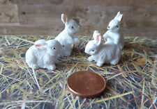 4x Hase Zwerghase Hasen weiß Bauernhof Puppenhaus Puppenstube Miniatur 1:12 2cm
