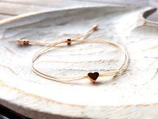 Minimalistisches Armband mit Herz, rosegold - Glücksbringer Freundschaft Liebe