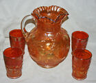 ANTIQUE+MARIGOLD+CARNIVAL+GLASS+PITCHER+AND+4+MATCHING+GLASSES