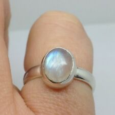Rainbow Moonstone solid Sterling Silver ring, UK size M, Oval, New, UK.