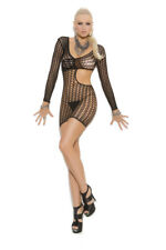 Crochet long sleeve mini dress with cut out side Exotic Clothing Adult Woman