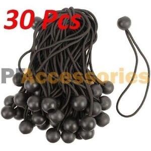 "30 Pcs Heavy Duty 6"" inch Ball Bungee Cord Tarp Canopy Tie Down Strap (Black)"