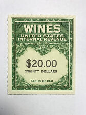 US Revenues Stamps Collection Scott #RE-181 $20 WINES Unused MNH NG Cat. @ $25