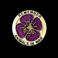 PURPLE GLITTER POPPY  - ANIMALS - REMEMBRANCE BADGE - GOLD               (P14)
