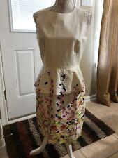Cynthia Steffe Light Cream Floral Stretch Peplum Wedding Cocktail Dress Size 8