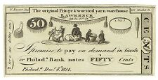 Dec 8 1814 Fifty Cents War of 1812 Hard Times Currency Note Engraved by W Kneass