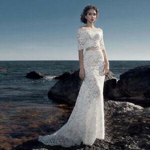 Off Shoulder Mermaid Wedding Dresses Formal Long Half Sleeves Beach Bridal Gowns