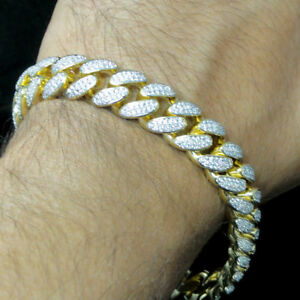 "12mm New Yellow Gold Tone Simulated Diamond Miami Cuban Curb Link Bracelet 9"""